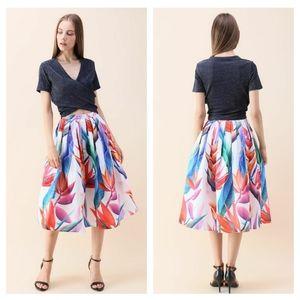 NEW  Chic Wish   White / Floral Midi Skirt
